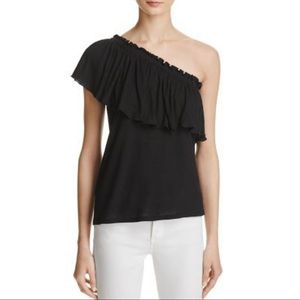 NWT Rebecca Taylor One-shoulder Ruffled Jersey Top